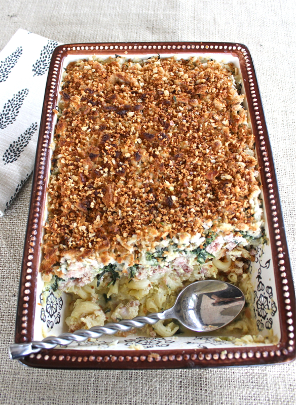 Ham Spinach and Pasta Gratin 1V
