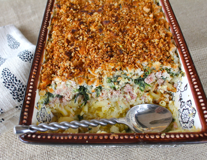 Ham Spinach and Pasta Gratin 3 close