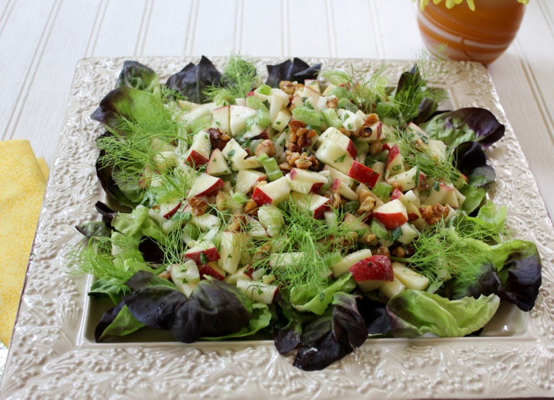 Waldorf Salad with Fennel and Candied Walnuts